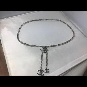 Chanel silver chain belt w/ Blk enamel in CC Logo!